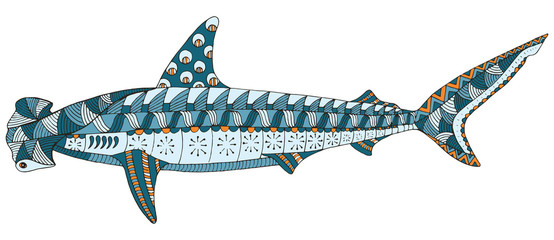 Hammerhead shark zentangle stylized, vector, illustration, pattern, freehand pencil, hand drawn.