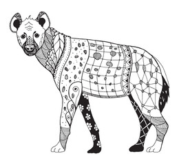 Hyena zentangle stylized, vector, illustration, freehand pencil, hand drawn, zen art, pattern. Anti stress coloring books for kids and adults.