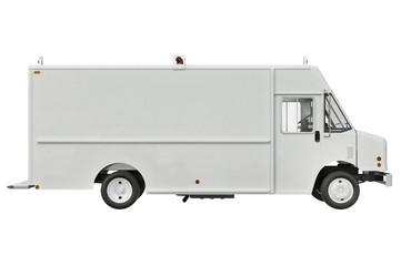 Van car white lorry, side view. 3D rendering
