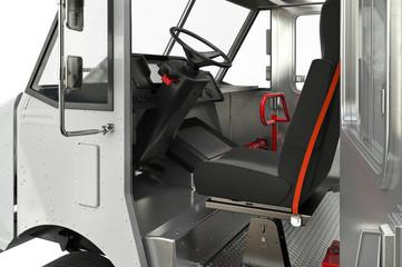 Van car cabin open door, close view. 3D rendering