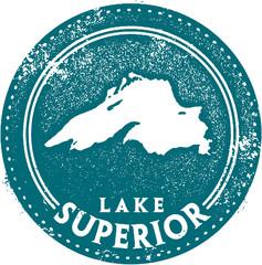 Vintage Lake Superior Travel Stamp