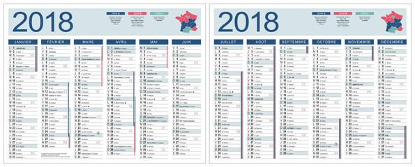 CALENDRIER 2018 FRANÇAIS (base pour 265x210mm recto-verso. Ech1) lunes, fêtes, fériés, vac, typo arial narrow vecto. et non vecto., 19 calques