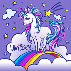 Unicorn head portrait vector illustration. Magic fantasy horse design for children t-shirt and bags. Unicorn with rainbow hair