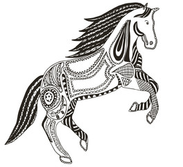 Zentangle stylized horse, swirl, illustration, vector, freehand pencil. Pattern, Zen art. Anti stress coloring books for kids and adults.