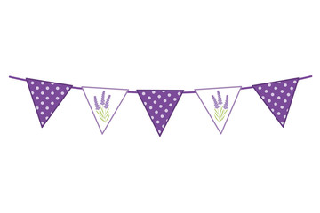 Vector Bunting with Lavender Flowers and Polka Dot Pattern