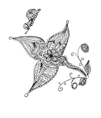 Zentangle stylized butterfly, flower, leafs, vector illustration, artistically drawn. Zen art. Anti stress coloring books for kids and adults.