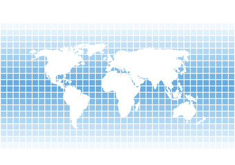 white vector world map silhouette on bright blue squares background
