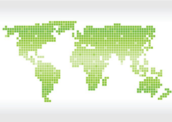 green pixels vector world map icon isolated on white background