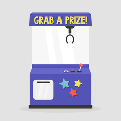 Grab a prize. Toy grabber. One-armed bandit. Slot machine / flat editable vector illustration, clip art
