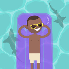 Hidden threat: shark shadows in water. Young serene black character lying on the inflatable mattress. Flat editable vector illustration, clip art