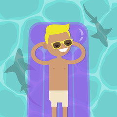 Hidden threat: shark shadows in water. Young serene character lying on the inflatable mattress. Flat editable vector illustration, clip art