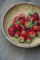 Fresh picked strawberries in basket
