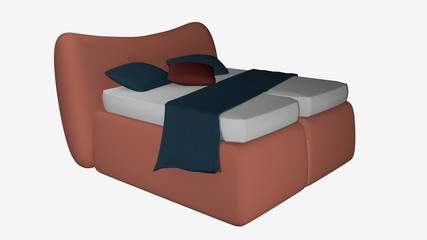 Decorative salmon colored double bed