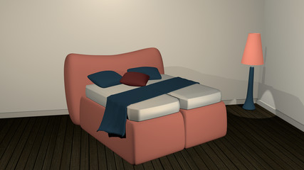 Living room with decorative salmon colored double bed
