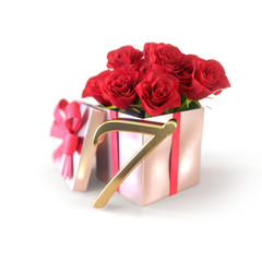 birthday concept with red roses in gift isolated on white background. seventh. 7th. 3D render