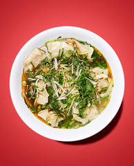 asian dumplings with broth in white bowl, on red background, studio