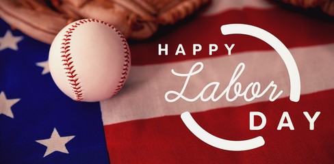 Composite image of digital composite image of happy labor day te