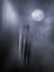 Mysterious blurred figures