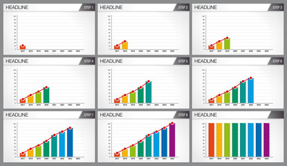 Graphic of 8 bars of different colors. Each graph shows step by step how the bars appear. Elements for info graphics, use in presentation. Vector image