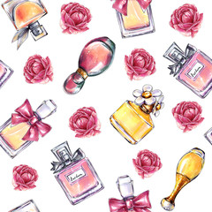 Vintage perfume flowers pattern. Beauty and fashion seamless pattern