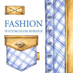 Watercolor checkered textile border with leather element, buttons and pocket. Fashion textile background. Original hand drawn illustration. Details of suit. Outerwear texture set