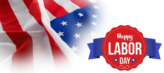 Composite image of happy labor day text in banner