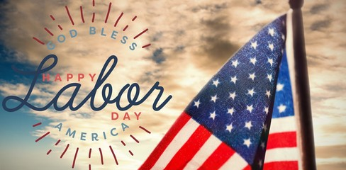 Composite image of composite image of happy labor day and god bl