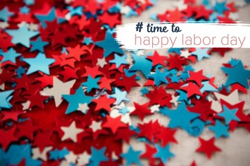 Composite image of digital composite image of time to happy labo