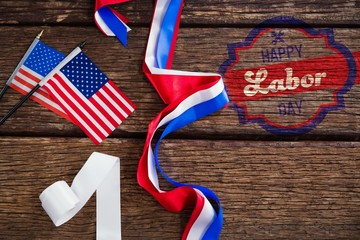 Composite image of digital composite image of happy labor day ba
