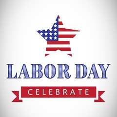 Labor day celebrate text and star shape American flag