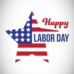 Composite image of happy labor day text and star shape American