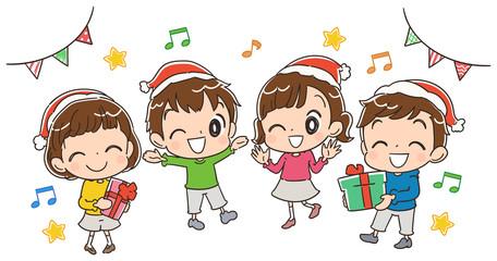 クリスマスパーティーをする子どものイラスト