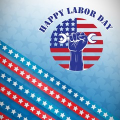 Composite image of happy labor day text over cropped hand holdin