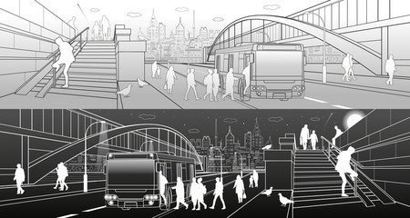 City transport infrastructure panorama. People get off the bus. Pedestrian arch bridge. Modern evening town in background. White lines, night and day scene. Vector design art