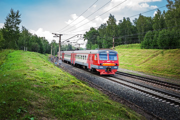The train speeds through the Siberian land