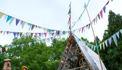 Colorful music festival flags at Fuji Rock in Japan