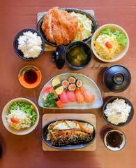 bowl of salad with vegetables, Katsudon, Saba fish teriyaki sauce, sushi, Japan food, Japan table food