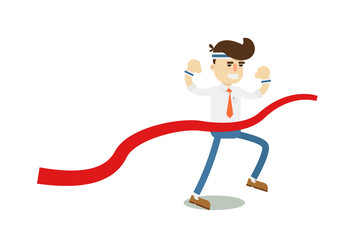 Running businessman at finish isolated icon. Business project and realization vector illustration in flat design.