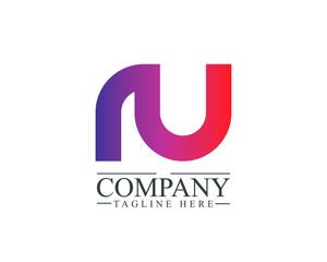 Initial Letter RU Linked Design Logo