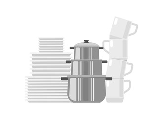 Set of dishes icon. Plates, cups and pans. Cooking and kitchen vector illustration in flat design.