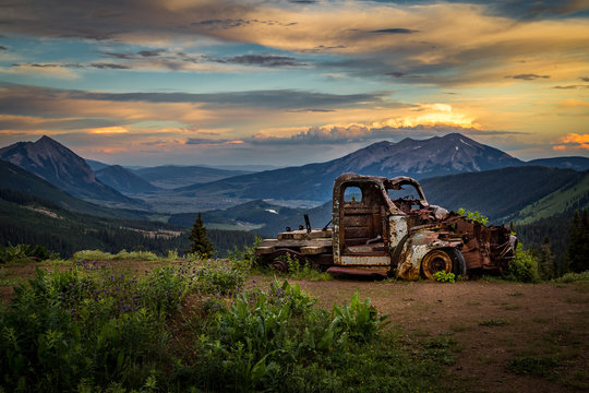 Old truck overlooking Crested Butte sunset