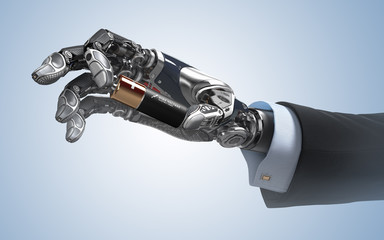 Robotic arm presenting a power cell pinching between fingers