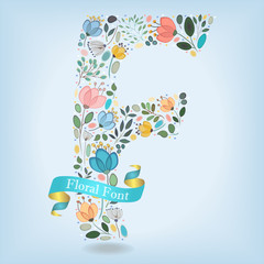 Floral Letter F with blue ribbon
