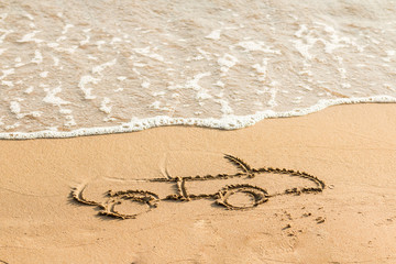 Draw car on beach sand. Conceptual design