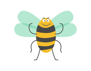 Big strong striped bumblebee with small wings isolated illustration