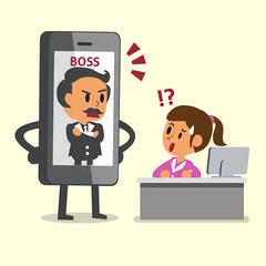 Cartoon boss control businesswoman by smartphone