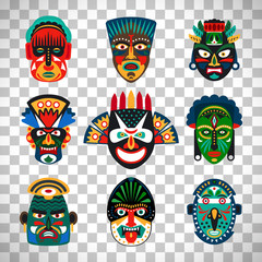 Tribal indian or african colorful masks