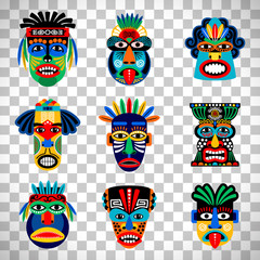 Aztec mask set on transparent background