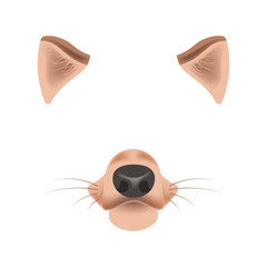 Dog animal face filter template video chat photo effect vector isolated icon