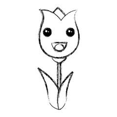 cute roses kawaii character vector illustration design